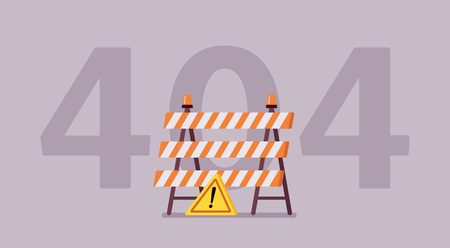 Error 404, not found page message. Under construction sign, computer status code showing unfinished website works, server could not find requested information for user or client. Vector illustration Illustration