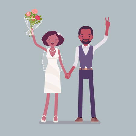 Happy bride and groom on wedding ceremony. African american man, woman in a beautiful white dress on traditional celebration, married couple in love. Marriage customs, traditions. Vector illustration