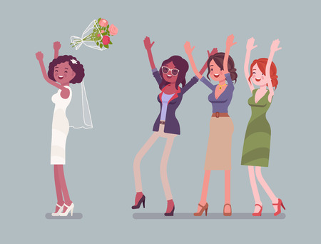 Bride and bridesmaids in bouquet toss tradition on wedding ceremony. African american woman in beautiful white dress throwing flowers on celebration. Marriage customs, traditions. Vector illustration