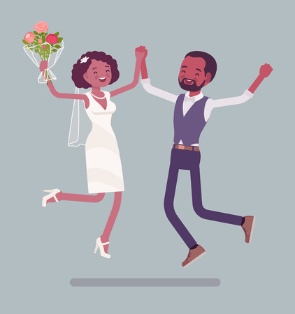 Bride and groom happy jump on wedding ceremony. African american man, woman in beautiful dress on traditional celebration, married couple in love. Marriage customs and traditions. Vector illustration