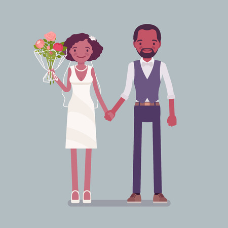 Happy bride, groom holding hands on wedding ceremony. African american man, woman in beautiful dress, traditional celebration, married couple in love. Marriage customs, traditions. Vector illustration