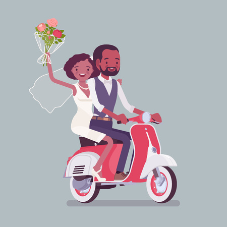 Bride, groom riding scooter on wedding ceremony. African american man, woman in beautiful dress on traditional celebration, married couple in love. Marriage customs and traditions. Vector illustration