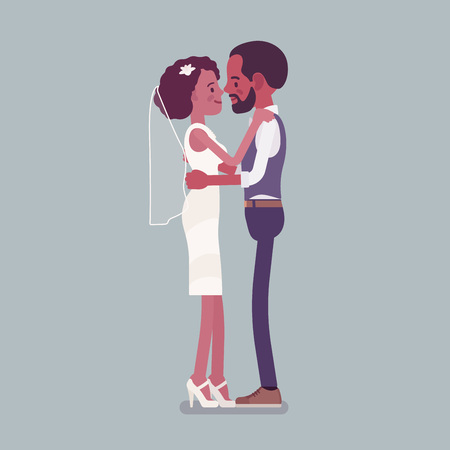 Bride and groom in gentle hug on wedding ceremony. African american man, woman in beautiful dress on traditional celebration, married couple in love. Marriage customs, traditions. Vector illustration