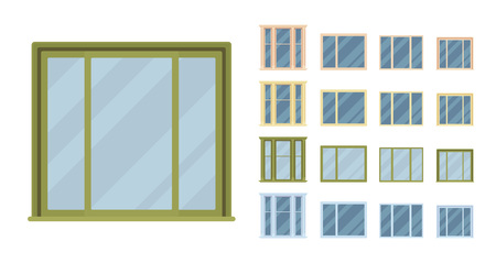 Window for building fitted with glass in a frame. Bay panoramic set with casement. Home and office design for residential project. Vector flat style cartoon illustration isolated on white background