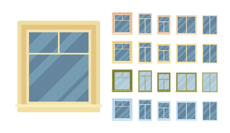 Window for building fitted with glass in a frame. Classic architectural appearance. Home and office design for residential project. Vector flat style cartoon illustration isolated on white background