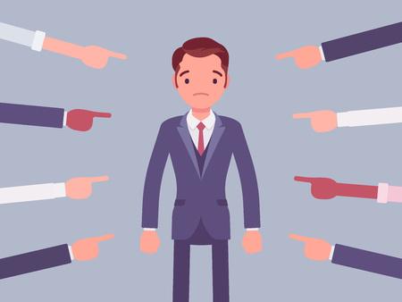 Schäme dich, schuldiger Mann. Junger männlicher Manager in schmerzhaftem Gefühl der Demütigung oder Verzweiflung nach falschem oder törichtem Verhalten, Respektverlust, mit vielen Fingern gezeigter Schande. Vektor-Illustration