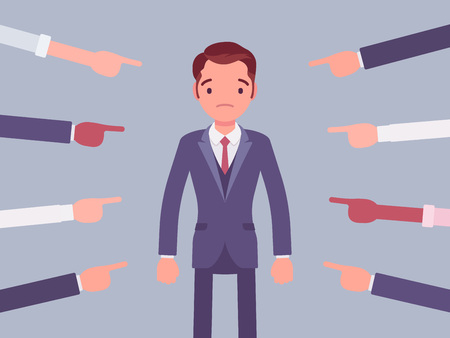 Shame on you, guilty man. Young male manager in painful feeling of humiliation or distress after wrong or foolish behaviour, loss of respect, dishonour pointed by many fingers. Vector illustration Stock Vector - 122039978
