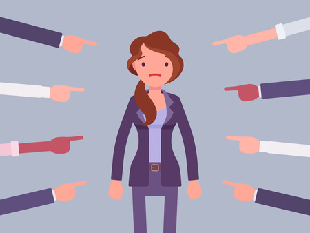 Shame on you, guilty woman. Young female manager in painful feeling of humiliation or distress after wrong or foolish behaviour, loss of respect, dishonour pointed by many fingers. Vector illustration