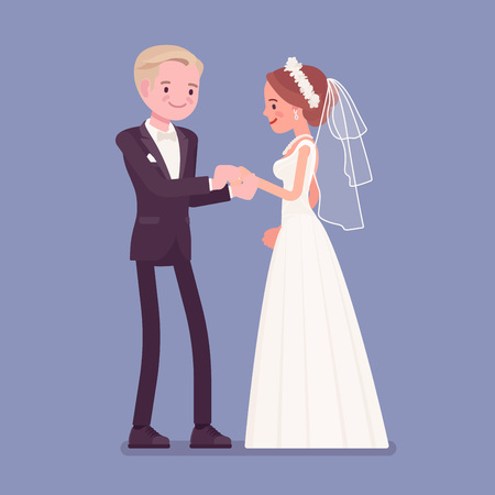 Bride, groom exchange of wedding rings ceremony. Elegant man, woman in a beautiful white dress on traditional celebration, married couple in love. Marriage customs and traditions. Vector illustration