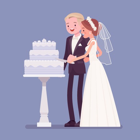 Bride, groom cutting cake on wedding ceremony. Elegant man, woman in beautiful white dress on traditional celebration, happy married couple in love. Marriage customs, traditions. Vector illustration Çizim