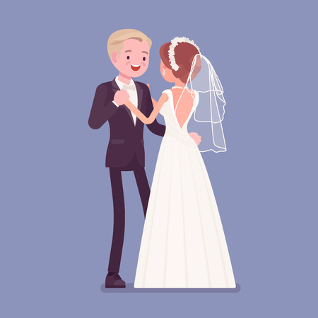 Bride and groom first dance on wedding ceremony. Elegant man, woman in a beautiful white dress on traditional celebration, married couple in love. Marriage customs and traditions. Vector illustration
