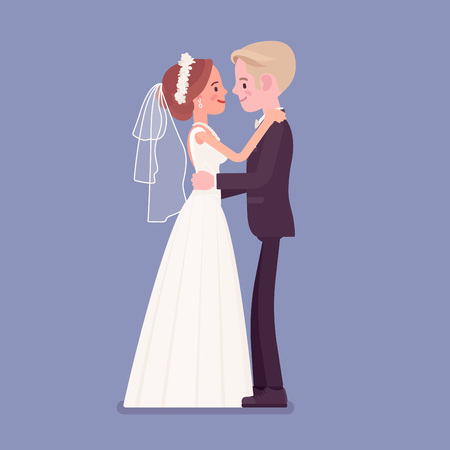 Bride and groom in gentle hug on wedding ceremony. Elegant man, woman in white beautiful dress on traditional celebration, married couple in love. Marriage customs and traditions. Vector illustration