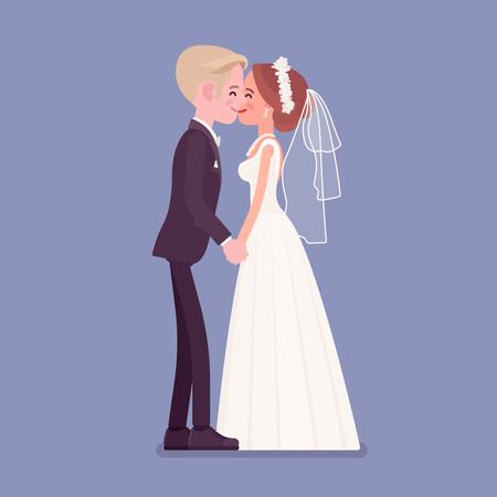 Bruid en bruidegom kussen op huwelijksceremonie. Elegante man, vrouw in witte mooie witte jurk op traditionele viering, verliefd echtpaar. Huwelijksgebruiken en -tradities. vector illustratie