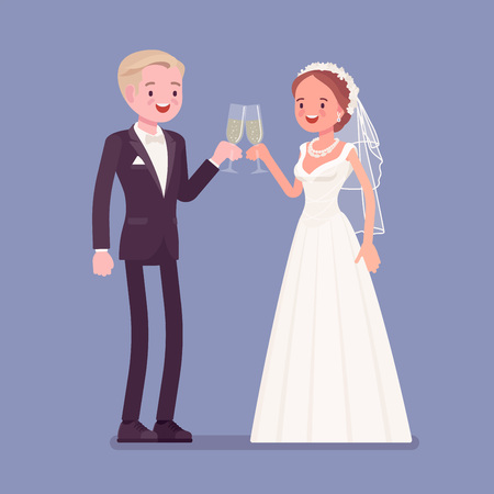Bride and groom enjoy drinks on wedding ceremony. Elegant man, woman in beautiful white dress on traditional celebration, married couple in love. Marriage customs and traditions. Vector illustration