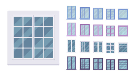Window for building fitted with glass in a frame. Georgian sash classic set with panes. Home, office design for residential project. Vector flat style cartoon illustration isolated on white background Ilustracja