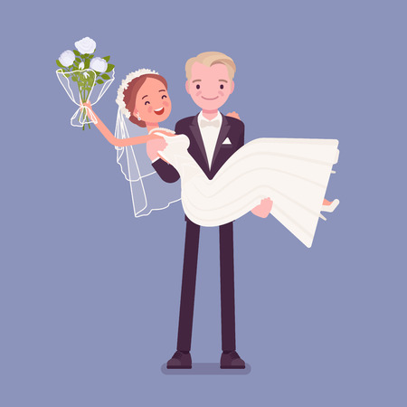 Groom carrying bride on wedding ceremony. Elegant man, woman in a beautiful white dress on traditional celebration, happy married couple in love. Marriage customs and traditions. Vector illustration