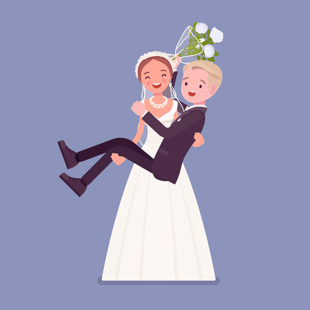 Bride carrying groom on wedding ceremony. Elegant man, woman in a beautiful white dress on traditional celebration, happy married couple in love. Marriage customs and traditions. Vector illustration Ilustracja
