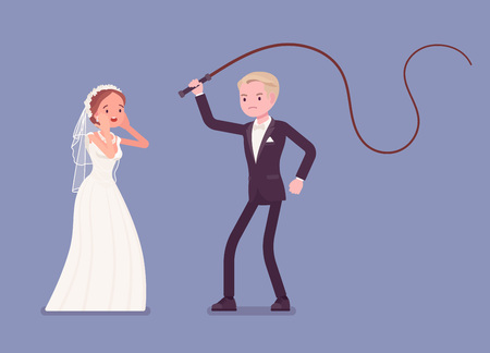 Bride flogging and beating groom with a whip. Unhappy man oppressed by woman on celebration, wife in married couple controlling. Marriage customs, traditions. Vector illustration Vector illustration