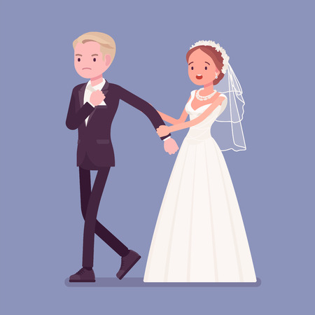 Angry groom leaving bride on wedding ceremony. Unhappy man going away from future wife, changing his mind, refusing to marry her on traditional celebration, break off engagement. Vector illustration Vettoriali
