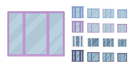 Fenster zum Bauen mit Glas in einem Rahmen. Bucht-Panorama-Set mit Flügel. Wohn- und Bürodesign für Wohnprojekte. Vector flache Artkarikaturillustration lokalisiert auf weißem Hintergrund