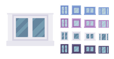 Window for building fitted with glass in a frame. Small rectangle facade elements. Home and office design for residential project. Vector flat style cartoon illustration isolated on white background Illustration