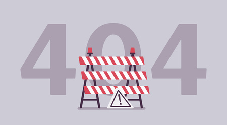 Error 404, not found page message. Under construction sign, computer status code showing unfinished website works, server could not find requested information for user or client. Vector illustration
