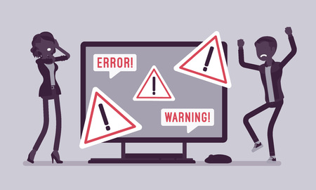 PC error, warnings for users. Angry male, female clients near monitor indicating potential hazard, attention symbol, information on device alerts of problem. Vector illustration, faceless characters Illustration
