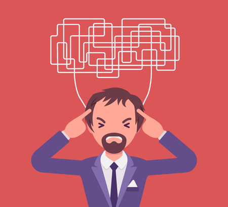 Man with confused thoughts unable to think clearly for decision. Complicated and chaotic ideas in disorder, manager perplexed with many difficult tasks, head full of problems. Vector illustration