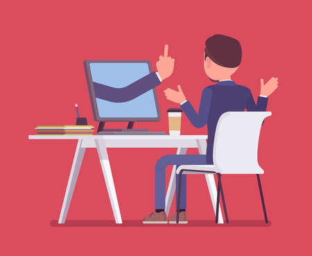 Man getting lost at computer. Discouraged male manager working to achieve nothing, negative hand gesture from monitor showing the loss of all hope, despairing business result. Vector illustration Vectores