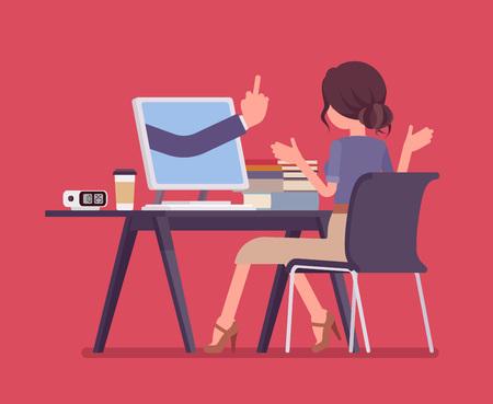 Woman getting lost at computer. Discouraged female manager working to achieve nothing, negative hand gesture from monitor showing the loss of all hope, despairing business result. Vector illustration Illustration