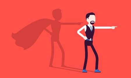 Super businessman in hero pose. Successful male manager admired for courage, outstanding business achievements, shadow waving cloak, pride, self-satisfaction. Vector illustration, faceless characters Ilustração