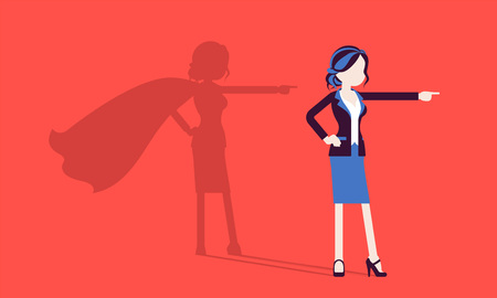 Super businesswoman in hero pose. Successful female manager admired for courage, outstanding business achievements, shadow cloak, pride, self-satisfaction. Vector illustration, faceless characters 向量圖像