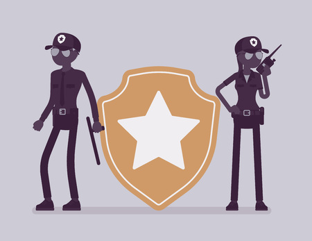 Security sign, guard officers. Male, female workers in uniform employed for protection of person, building, organization, giant badge, professional star sign. Vector illustration, faceless characters