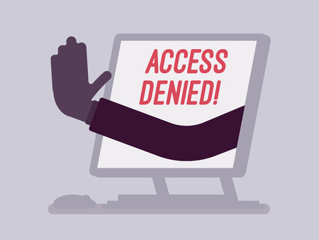 Access denied sign on monoblock screen. Hand from device showing user does not have permission to file, system refuses password and entry to computer data, error with red signal. Vector illustration Illustration