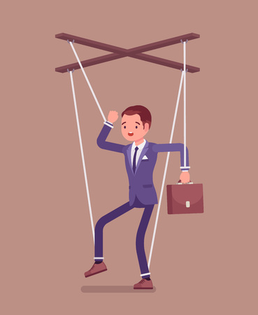 Marionette businessman, manipulated or controlled puppet worked by strings. Unhappy obedient male manager under boss influence and power to perform business orders, make decisions. Vector illustration Illustration