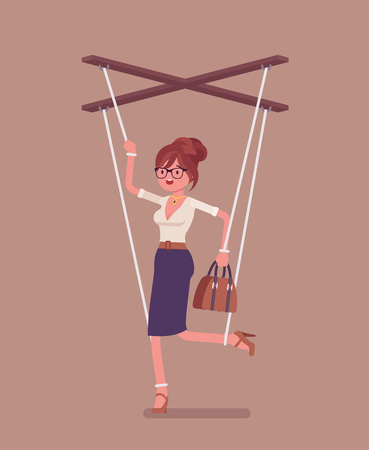 Marionette businesswoman, manipulated controlled puppet worked by strings. Unhappy obedient female manager under boss influence, power to perform business orders, make decisions. Vector illustration