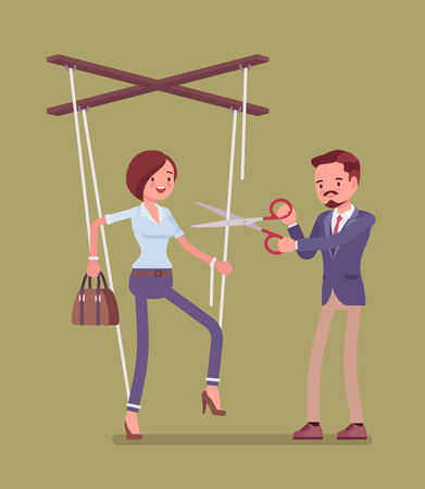 Marionette businesswoman setting free from slavery, oppression. Woman liberation, girl enjoying personal rights after influence and control, man cutting doll strings with scissors. Vector illustration