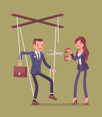 Marionette businessman setting free from slavery or oppression. Man liberation, guy enjoying personal rights after influence and control, man cutting doll strings with scissors. Vector illustration