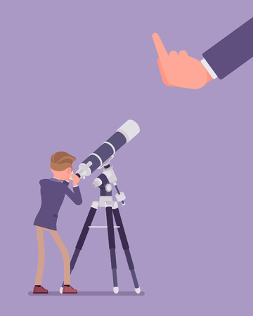 Businessman seeing no expectation of good or success. Male manager watching telescope for prediction, viewing bad business development, poor outcome, negative future prognosis. Vector illustration