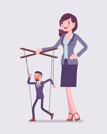 Marionette businessman manipulated and controlled by female puppeteer. Unhappy obedient male manager under boss influence, strong woman with authority operates a weak man. Vector illustration