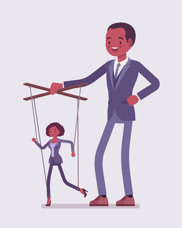 Marionette black businesswoman manipulated and controlled by male puppeteer. Unhappy obedient female manager under boss influence, strong man with authority operates a weak woman. Vector illustration