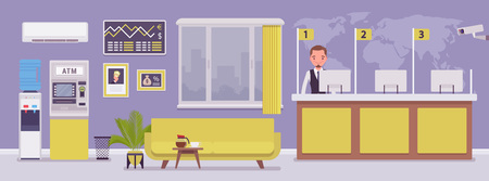 Bank office and male professional manager. Financial center modern corporate interior design, young man working in a banking branch, employee to deal with services and customers. Vector illustration