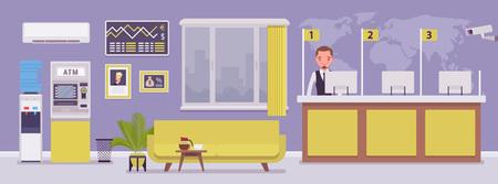 Oficina bancaria y gerente profesional masculino. Diseño interior corporativo moderno del centro financiero, joven que trabaja en una sucursal bancaria, empleado para tratar con los servicios y los clientes. Ilustración vectorial