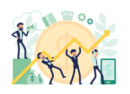 Economist team working together. Male efficient experts in economics start corporate development to increase business productivity, data chart. Vector abstract illustration with faceless character