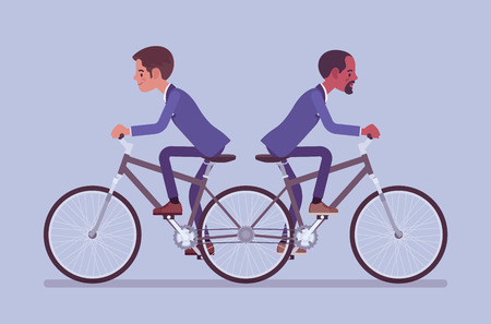 Businessmen riding push me pull you tandem bicycle. Male ambitious managers in disagreement, unable working together moving in different ways, ineffective, unproductive coworking. Vector illustration