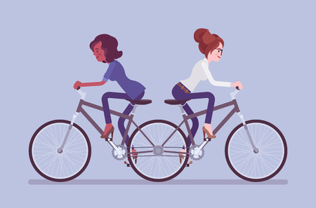 Businesswomen on push me pull you tandem bicycle. Female ambitious managers in disagreement, unable working together moving in different ways, ineffective, unproductive coworking. Vector illustration