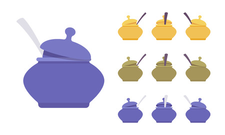 Pot set, kitchen appliance. Round lidded cauldron for storage, serving, sugar bowl, kitchenware accessory. Vector flat style cartoon illustration isolated on white background, different views, colors