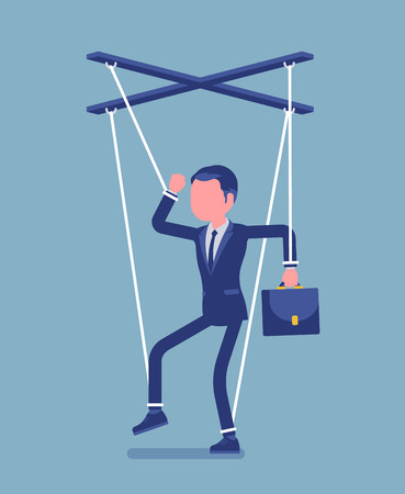 Marionette businessman, manipulated or controlled puppet worked by strings. Male manager under boss influence, power to perform business orders, make decisions. Vector illustration, faceless character