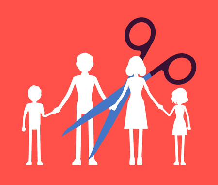 Family members paper garland chain cut. Scissors divide, separate parents and children unit, dissolution of a marriage, parental access rights after divorce or break up, split. Vector illustration Stock Illustratie