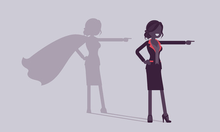 Super businesswoman in hero pose. Successful female manager admired for courage, outstanding business achievements, shadow cloak, pride, self-satisfaction. Vector illustration, faceless characters Vectores